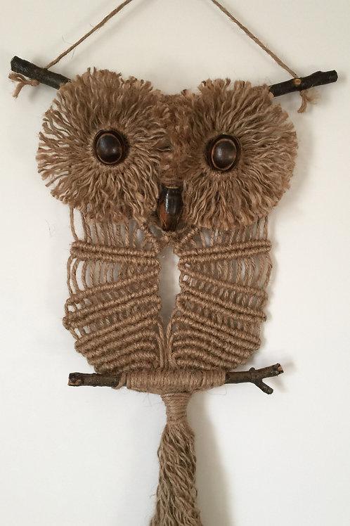 OWL #106 Macrame Wall Hanging, natural jute, macrame owl