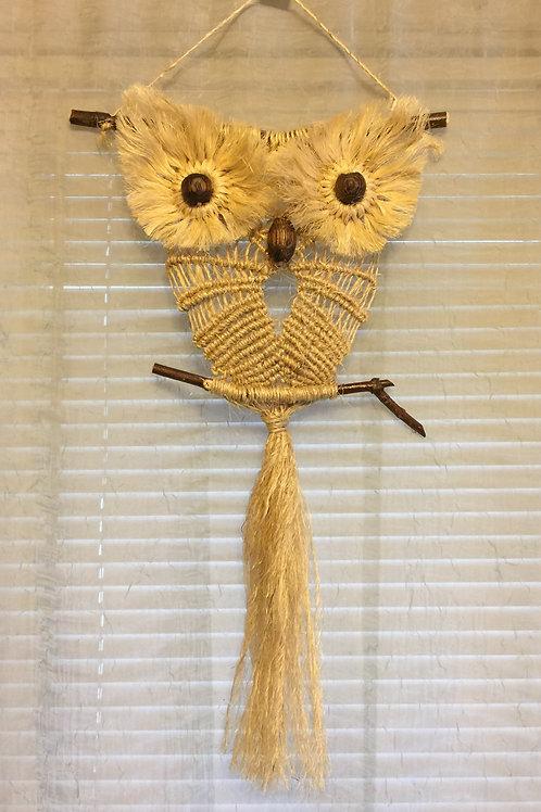 OWL #74 Macrame Wall Hanging, natural jute, sisal, small macrame