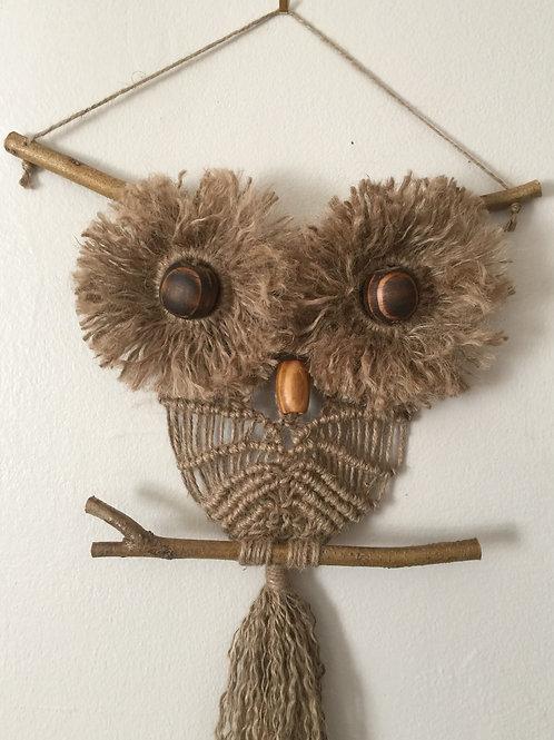 OWL #200 Macramé Wall Hanging, natural jute, macramé owl