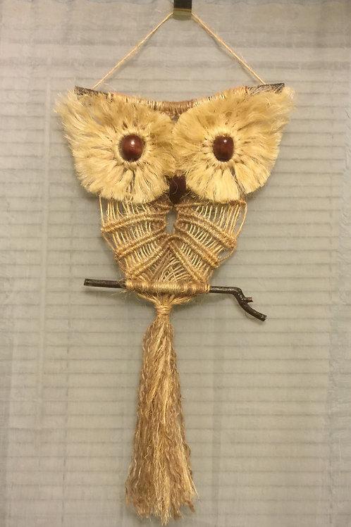 OWL #63 Macrame Wall Hanging, natural jute, sisal