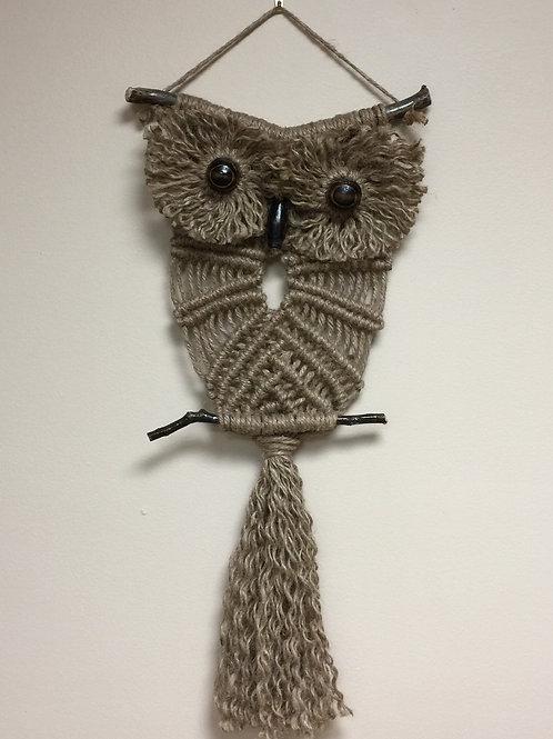 OWL #153 Macrame Wall Hanging, natural jute, macrame owl