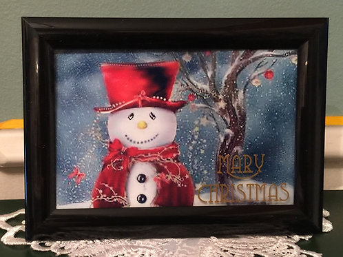 """SNOWMAN Mary Christmas 5""""x7"""" picture on the glass"""