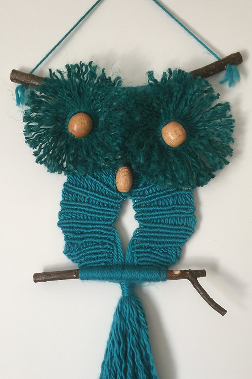 OWL #77 Macrame Wall Hanging, natural jute, acrylic and wool