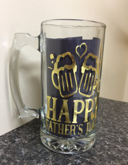 HAPPY FATHER'S DAY (58), Decorated Glass Mug, Gift for Dad