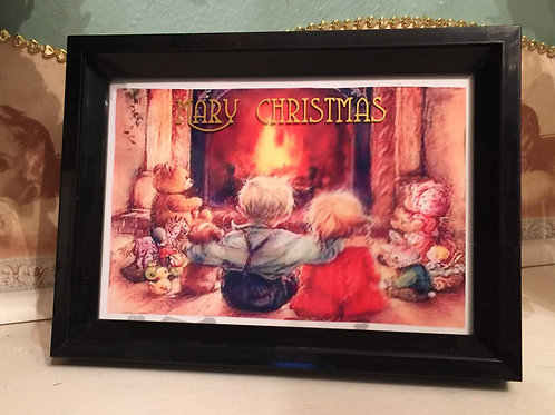 """FIREPLACE Mary Christmas 4x6"""" picture on the glass"""
