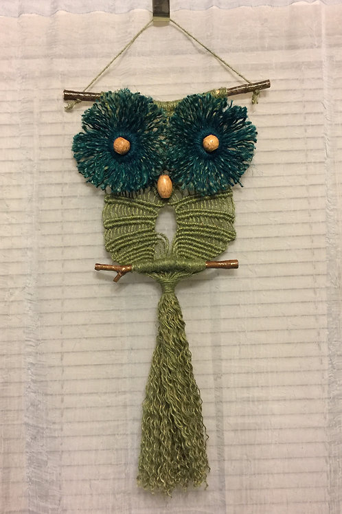 OWL #75 Macrame Wall Hanging, natural and colored jute