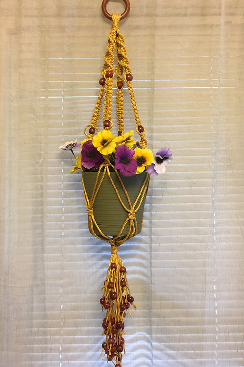 MACRAME PLANT HANGER 40 single, yellow, 4 arms, wood beads