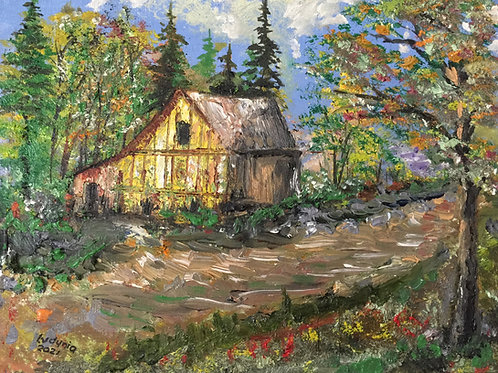 """OLD COTTAGE original oil painting on stretched canvas 8""""x10"""", unframed"""