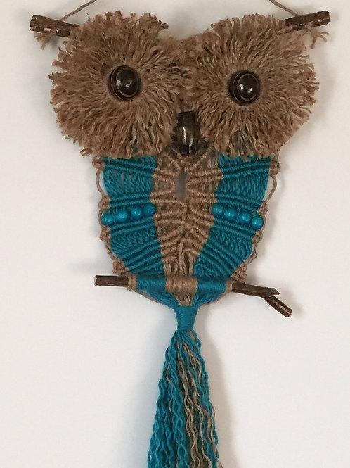 OWL #113 Macrame Wall Hanging, natural jute, acrylic, macrame owl