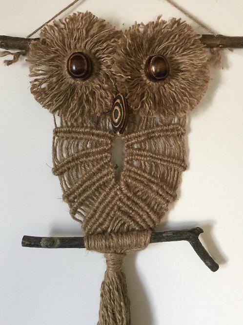 OWL #190 Macrame Wall Hanging, natural jute, macrame owl
