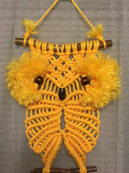 OWL #17 Macrame Wall Hanging, yellow