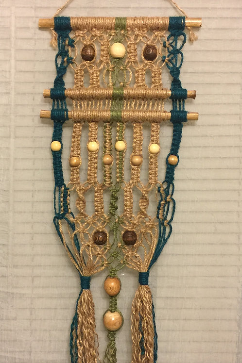 MACRAME WALL HANGING #52 natural and colored jute, bamboo dowels, wood beads
