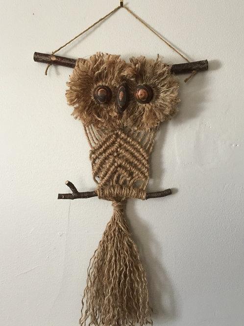 OWL #201 Macramé Wall Hanging, natural jute, macramé owl