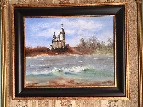 """WHITE CASTLE original oil painting 11""""x14"""" framed"""
