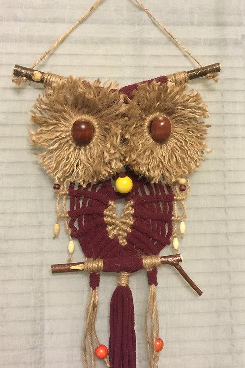 OWL #47 Macrame Wall Hanging, polyester, jute
