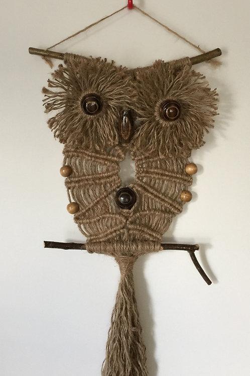 OWL #143 Macrame Wall Hanging, natural jute, macrame owl