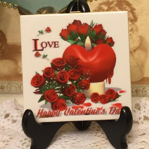 LOVE Hand Decorated Ceramic Tile
