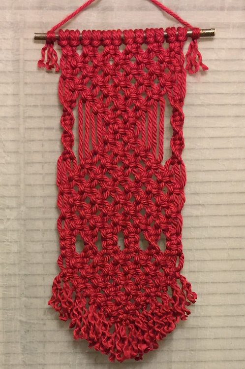 MACRAME WALL HANGING 45, claret, 100% acrylic, wall tapestry