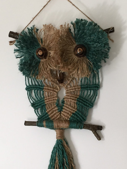OWL #141 Macrame Wall Hanging, natural, colored jute, macrame owl