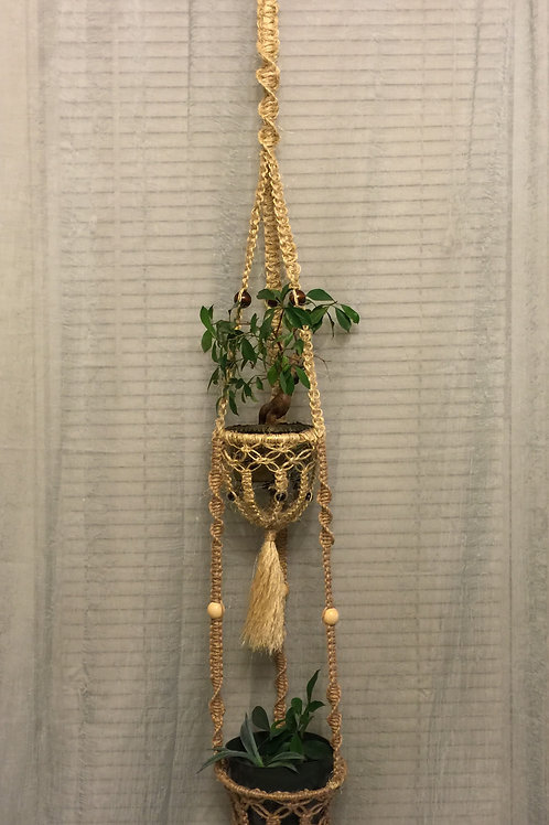 MACRAME PLANT HANGER double, natural, jute, sisal