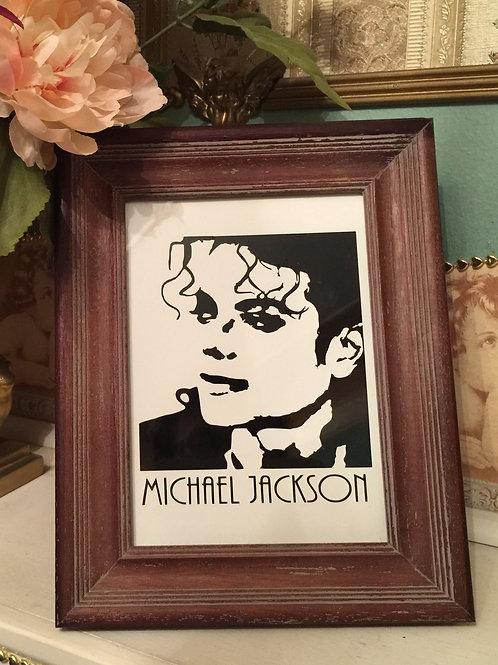 MICHAEL JACKSON vinyl portrait on paper