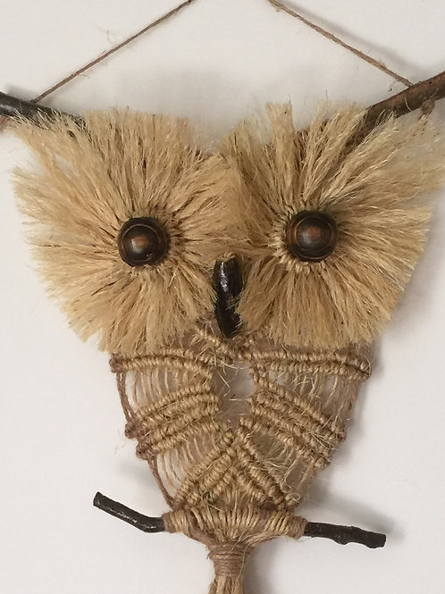 OWL #169 Macrame Wall Hanging, natural jute, macrame owl