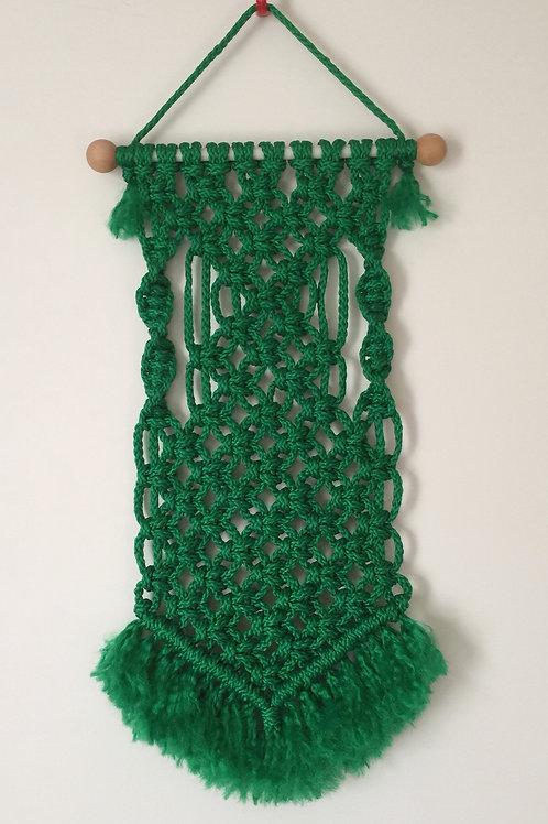 MACRAME WALL HANGING 58, Green Bonnie Craft Cord