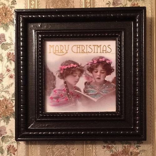 "CHRISTMAS CAROL Hand Decorated Ceramic Tile, 4""x4"""