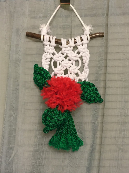 MACRAME FLOWER Wall Hanging, white, red, green