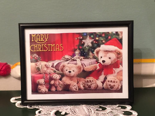 """BEARS Mary Christmas 5""""x7"""" picture on the glass"""