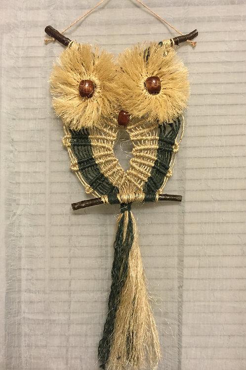 OWL #32 Macrame Wall Hanging, colored jute, sisal