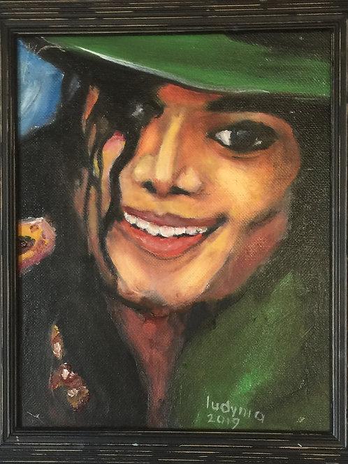 "MICHAEL JACKSON #2 (130) original oil painting on canvas, 8""x 10"""
