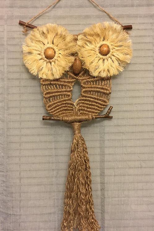 OWL #82 Macrame Wall Hanging, natural jute, sisal