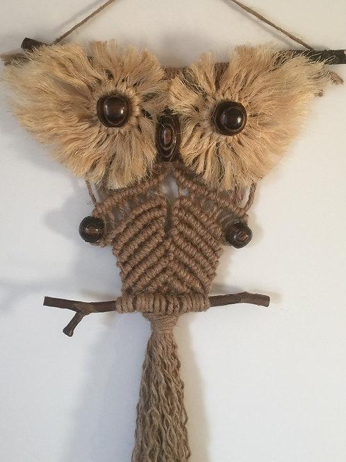 OWL #173 Macrame Wall Hanging, natural jute, sisal