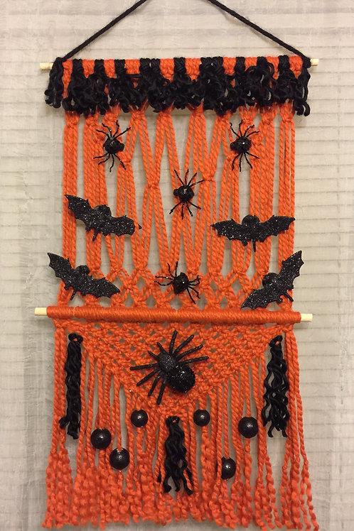 HALLOWEEN Macrame Wall Hanging 44, Halloween Macrame, acrylic & wool