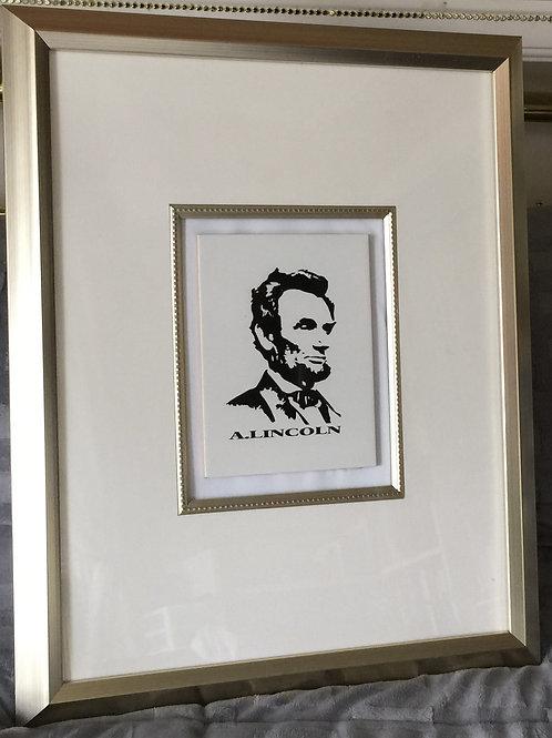 A.LINCOLN vinyl portrait on tile, mixed media