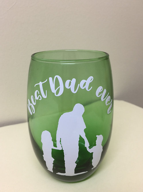 BEST DAD EVER, Decorated Glass Mug, Gift for Dad