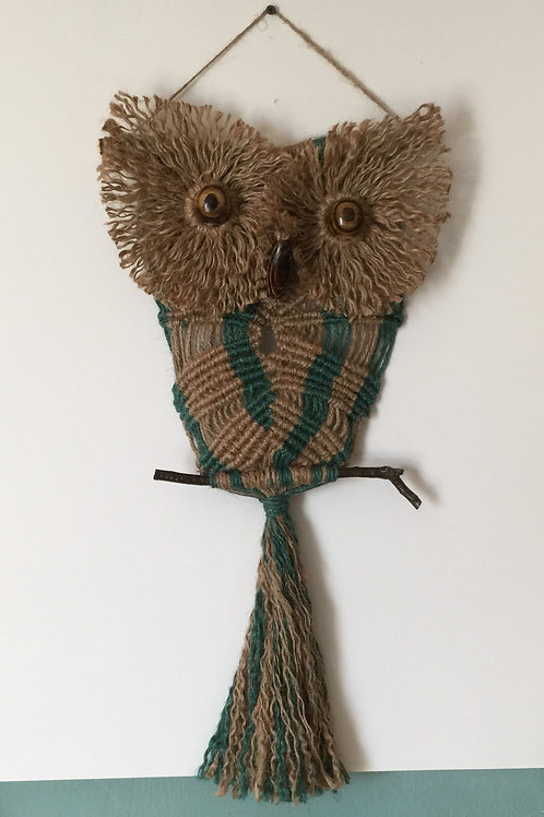 OWL #192 Macrame Wall Hanging, natural, colored jute, macrame owl