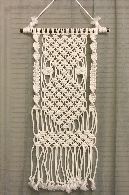 MACRAME WALL HANGING 34, white, synthetic