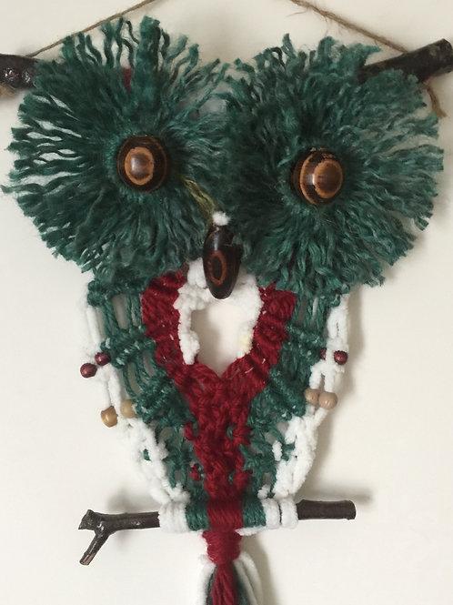 OWL #180 Macrame Wall Hanging, natural jute, acrylic, macrame owl