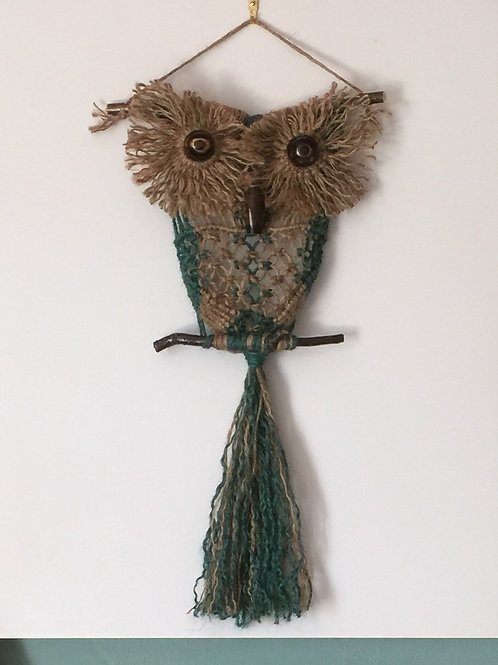OWL #161 Macrame Wall Hanging, natural, colored jute, macrame owl
