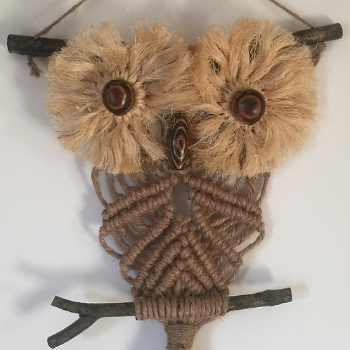 OWL #172 Macrame Wall Hanging, natural jute, sisal
