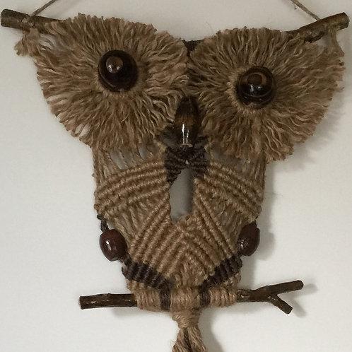 OWL #146 Macrame Wall Hanging, natural jute, macrame owl