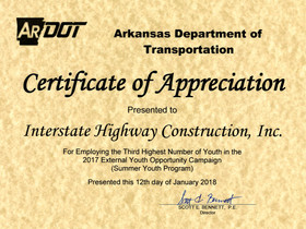 IHC Recognized by AR DOT for Participation in External Youth Opportunity Program