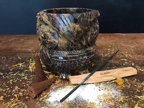 Soap Stone Owl Bowl/Incense Burner