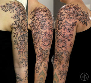 Sleeve with 68 roses for Tracey