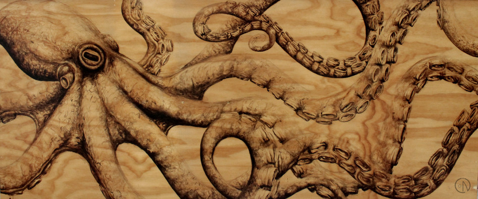 octopus painted with stain on wood