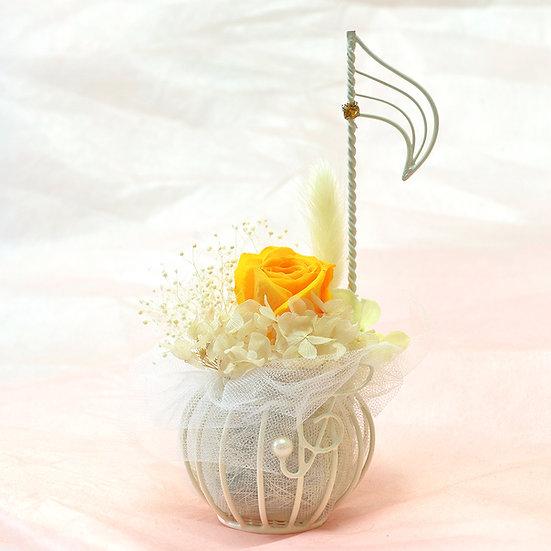 楽器と音楽のフラワーアレンジ 音符♪ジュリアオレンジ 【プリザーブドフラワー】