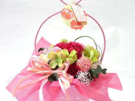 【母の日】かわいいピンクのバケツ風♡ カーネーションのプリザーブドフラワーアレンジ 【ギフト】