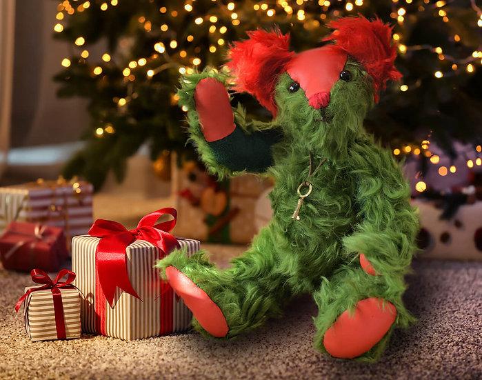 スタイリッシュで 個性的! グリーン & レッド【テディベア】【ぬいぐるみ】【クリスマス】【ギフト】